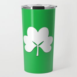 St Patty's Day Green background with white shamrock Travel Mug