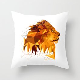 Geometric Lion Wild animals Big cat Low poly art Brown and Yellow Throw Pillow