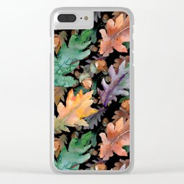 Colorful Woodland Watercolor Oak And Acorn Pattern Clear iPhone Case