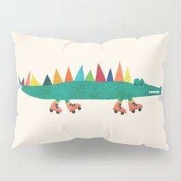Crocodile on Roller Skates Pillow Sham