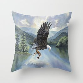 Eagle with Fish Throw Pillow