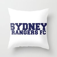 college Throw Pillows featuring College - Blue by Sydney Rangers FC