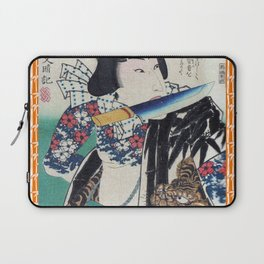 Kunichika Tattooed Warrior with Bamboo Pattern Background Laptop Sleeve