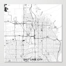 Salt Lake City Map Gray Canvas Print