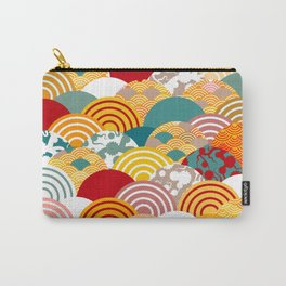Nature background with japanese sakura flower, orange red pink Cherry, wave circle pattern Carry-All Pouch