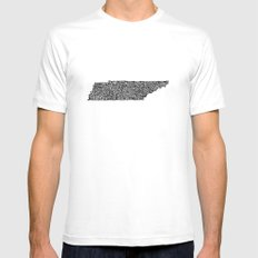 Typographic Tennessee White Mens Fitted Tee MEDIUM