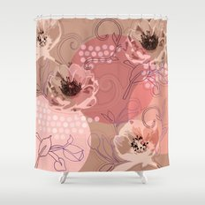 Hellabore line pattern, rose Shower Curtain