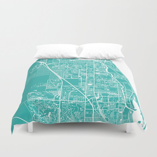 Jupiter FL map turquoise Duvet Cover