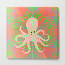 Psychedelic Vintage Octopus Texture Print Metal Print