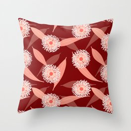 Australian Flora in Red Throw Pillow