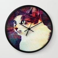 80s Wall Clocks featuring 80s Cat by Bunhugger Design