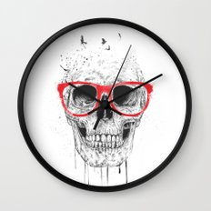 Skull with red glasses Wall Clock