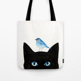 Cat and Bird Tote Bag