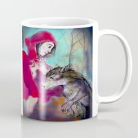 red hood Mugs featuring red hood by AliluLera