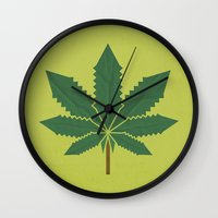 weed Wall Clocks featuring weed by rubenmontero