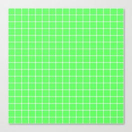 Screamin' Green - green color - White Lines Grid Pattern Canvas Print