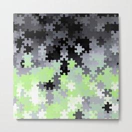 Agender Pride Puzzle Pieces Pattern Metal Print