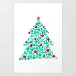 Watercolor Circles Christmas Tree Art Print
