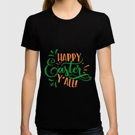 Happy Easter Y'all green orange T-shirt