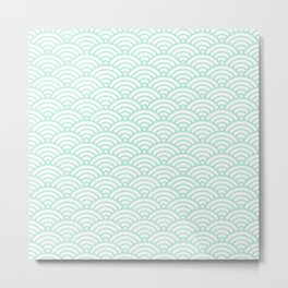 Mint Green Seigaiha Sea Wave Nautical Minimalist Metal Print