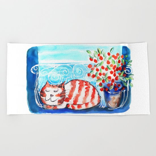 Kitty Siesta Beach Towel