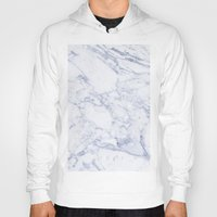 white marble Hoodies featuring White Marble by SueM