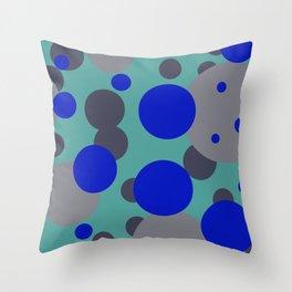 bubbles blue grey turquoise design Throw Pillow