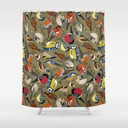 winter garden birds olive Shower Curtain