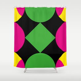 A green square being touched by two half-circles, surrounded by a Yellow Veil. Shower Curtain