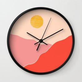 Desert Sunset and Mars Mountains Wall Clock