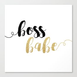 Boss Babe   Gold Glitter Canvas Print