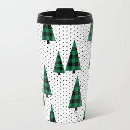 Christmas Tree forest minimal scandi dots plaid patterned holiday winter Travel Mug