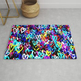 Bright Graffiti Hearts Cool Modern Abstract Love Design Rug