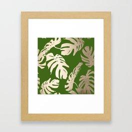 Palm Leaves White Gold Sands on Jungle Green Framed Art Print