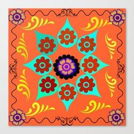 Talavera Tile Orange Canvas Print