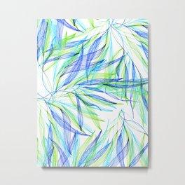 Underwater Forest #2 -Line drawing leaves Metal Print