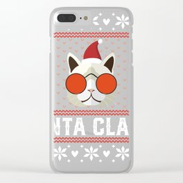 Funny Cat Ugly Christmas Sweater T-Shirt Clear iPhone Case