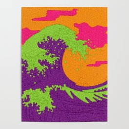 The Great Wave in neon Poster