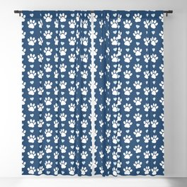 Dog Paws, Traces, Animal Paws, Hearts - Blue White Blackout Curtain