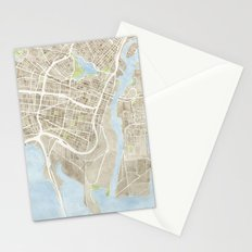 Oakland California Watercolor Map Stationery Cards