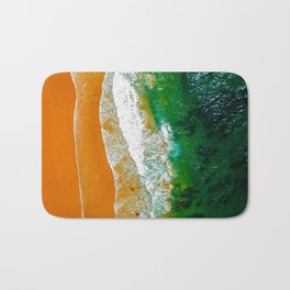Aerial Panoramic Drone View Of Blue Ocean Waves And Beautiful Sandy Beach in Portugal Bath Mat