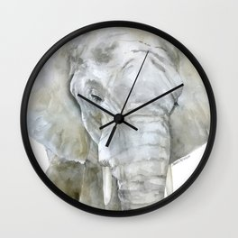 Elephant Watercolor Painting - African Animal Wall Clock