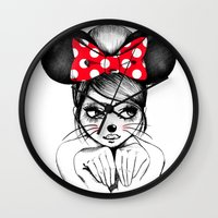 minnie mouse Wall Clocks featuring Minnie by theavengerbutterfly