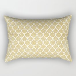 Mermaid Tail Pattern  |  Gold Glitter Rectangular Pillow