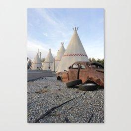 Wigwam Motel + Rusty Car Route 66 Canvas Print