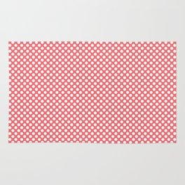 Sugar Coral and White Polka Dots Rug