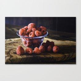 Raspberries for breakfast, raspberries on a wood table top Canvas Print