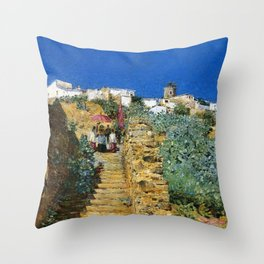 Classical Masterpiece 'Church Procession, Spain, Spanish Steps' by Frederick Childe Hassam Throw Pillow