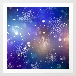 Christmas Shiny Snowflake Background Art Print