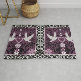 Lace Valentines day print with birds and heart Rug